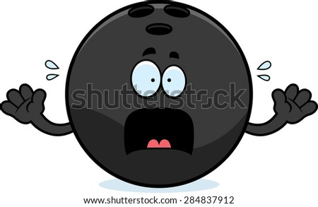 A cartoon illustration of a bowling ball looking scared.