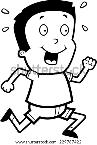A cartoon illustration of a boy running and smiling.