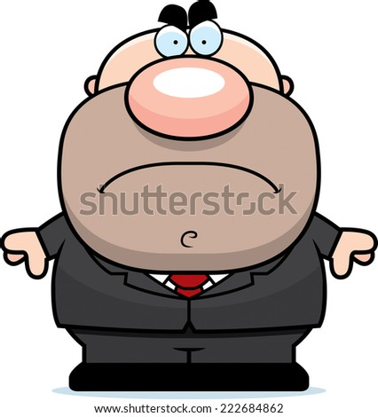 A cartoon illustration of a businessman with an angry expression. - stock vector