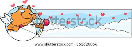 A cartoon illustration of a cat cupid in a Valentine's Day themed graphic.