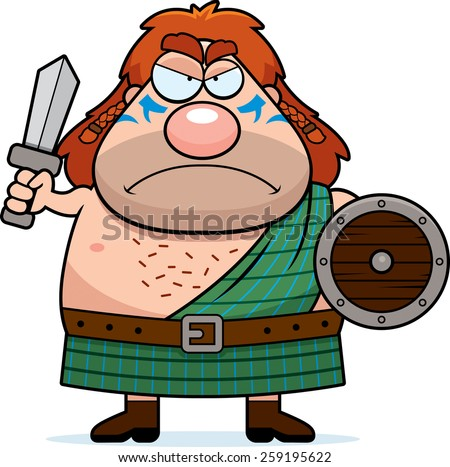 A cartoon illustration of a Celtic warrior looking angry. - stock vector