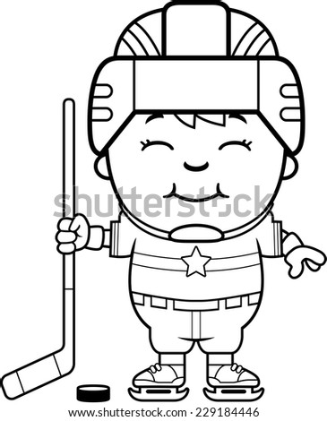 A cartoon illustration of a child hockey player smiling. - stock vector