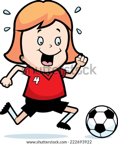A cartoon illustration of a child playing soccer. - stock vector