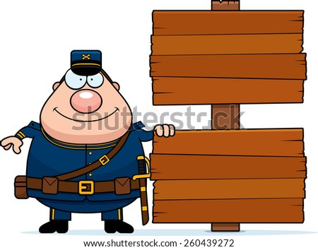 A cartoon illustration of a Civil War Union soldier with a sign. - stock vector
