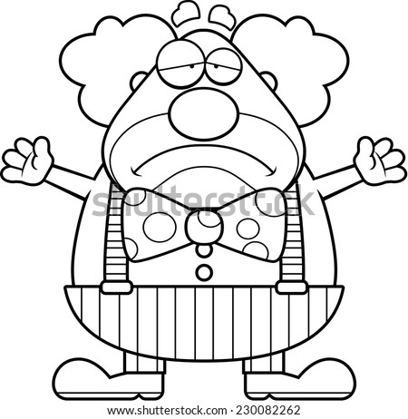 A cartoon illustration of a clown with a sad expression. - stock vector