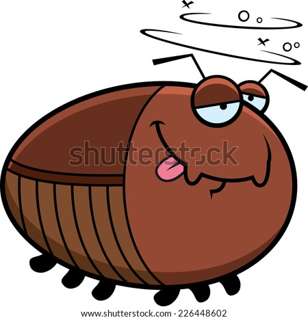 A cartoon illustration of a cockroach looking drunk. - stock vector