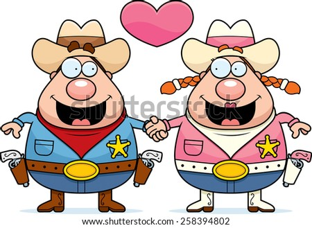 A cartoon illustration of a cowboy couple holding hands and in love. - stock vector