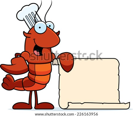 A cartoon illustration of a crawfish chef with a paper recipe. - stock vector