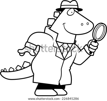 A Cartoon Illustration Of Dinosaur Detective With Magnifying Glass
