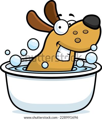 A cartoon illustration of a dog taking a bath. - stock vector