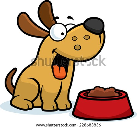 A cartoon illustration of a dog with a bowl of food. - stock vector