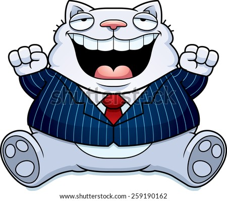 A cartoon illustration of a fat cat in a suit smiling and sitting. - stock vector
