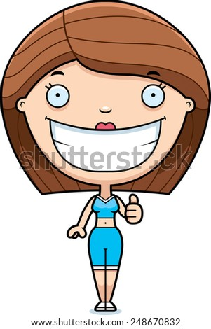 A cartoon illustration of a fitness woman giving a thumbs up. - stock vector