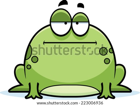 A cartoon illustration of a frog looking bored. - stock vector