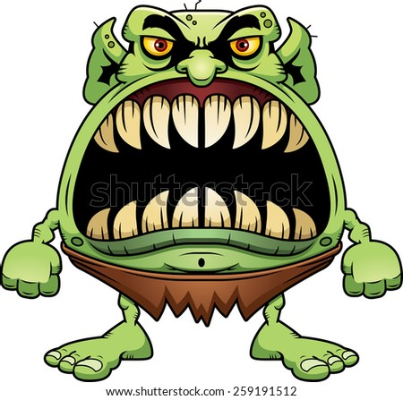 A cartoon illustration of a goblin with a big mouth full of sharp teeth. - stock vector