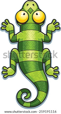 A cartoon illustration of a green lizard with stripes. - stock vector