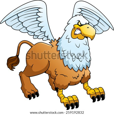A cartoon illustration of a griffin looking angry. - stock vector