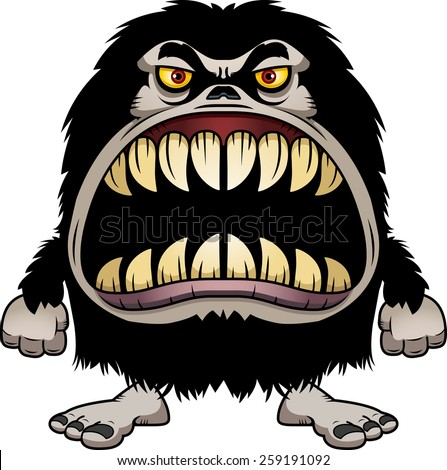 A cartoon illustration of a hairy monster with a big mouth full of sharp teeth. - stock vector