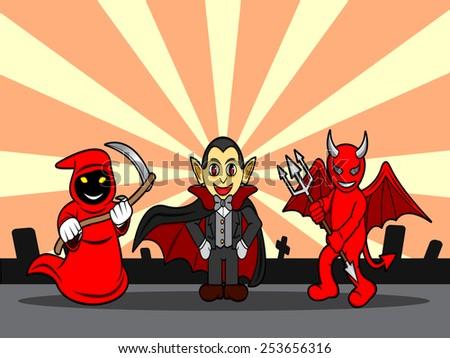 A cartoon illustration of a halloween monsters - stock vector