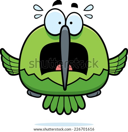 A cartoon illustration of a hummingbird looking scared. - stock vector
