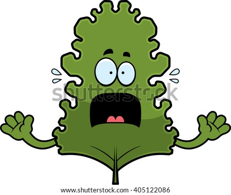 A cartoon illustration of a kale leaf looking scared. - stock vector