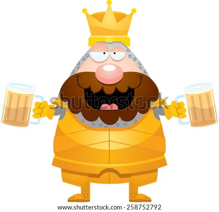 A cartoon illustration of a king in armor looking drunk on beer.