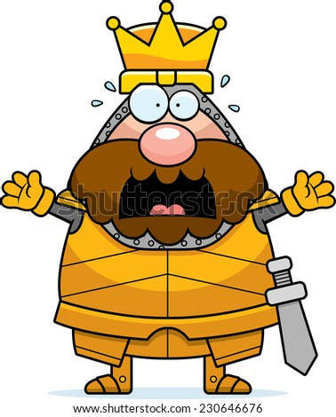 A cartoon illustration of a king in armor looking scared.