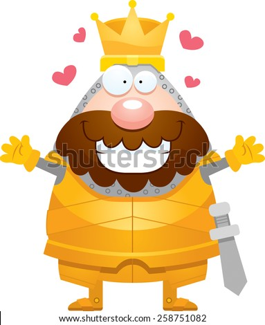 A cartoon illustration of a king in armor ready to give a hug. - stock vector