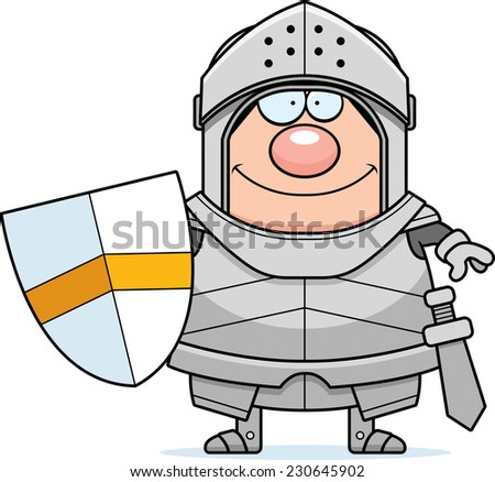 A cartoon illustration of a knight smiling. - stock vector
