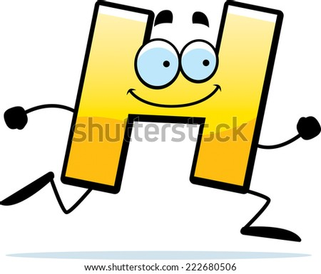 A cartoon illustration of a letter H running and smiling.
