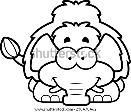 A cartoon illustration of a little mammoth happy and smiling. - stock vector
