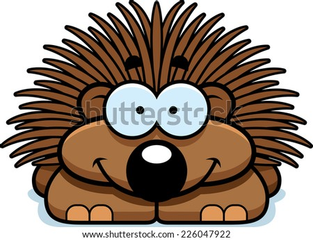 A cartoon illustration of a little porcupine happy and smiling. - stock vector