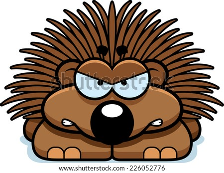 A cartoon illustration of a little porcupine with an angry expression. - stock vector