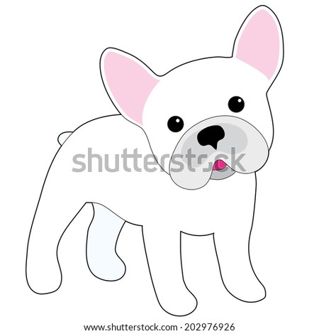 A cartoon illustration of a little white French Bulldog  - stock vector