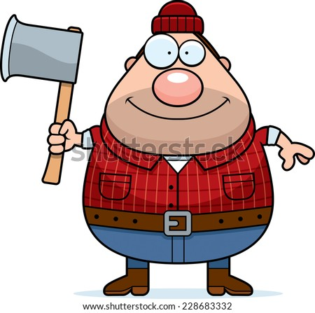 A cartoon illustration of a lumberjack with an axe. - stock vector