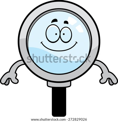 A cartoon illustration of a magnifying glass looking happy. - stock vector