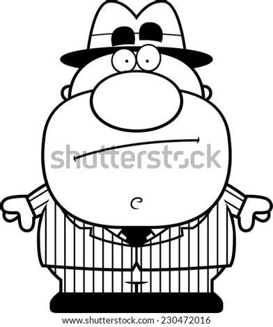 A cartoon illustration of a mobster standing. - stock vector