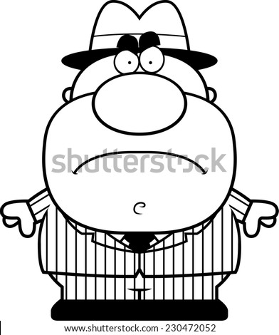 A cartoon illustration of a mobster with an angry expression. - stock vector