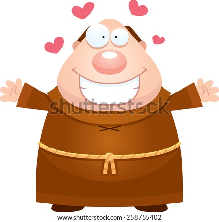 A cartoon illustration of a monk ready to give a hug. - stock vector