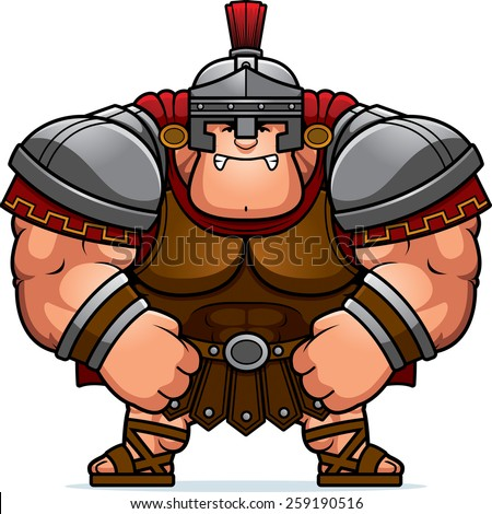 A cartoon illustration of a muscular Roman Centurion in armor looking angry. - stock vector