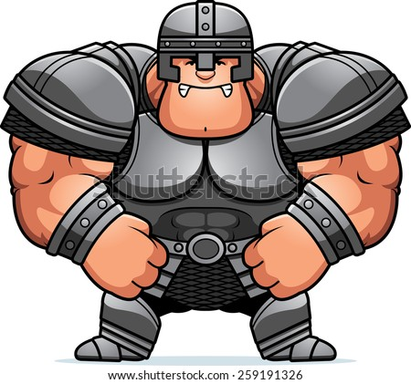 A cartoon illustration of a muscular warrior in armor looking angry.