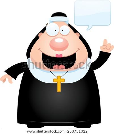 A cartoon illustration of a nun talking. - stock vector