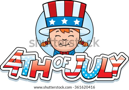 A cartoon illustration of a patriotic girl in a 4th of July themed graphic. - stock vector
