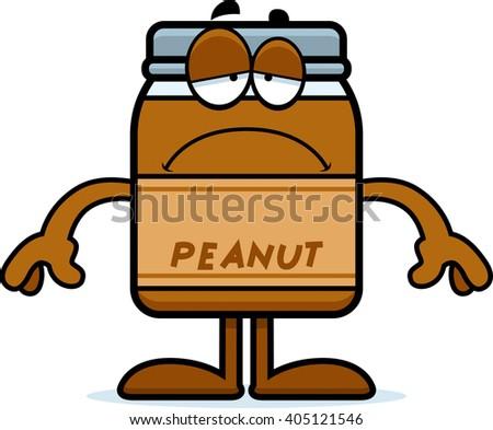 A cartoon illustration of a peanut butter jar looking sad. - stock vector
