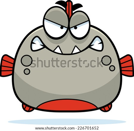 A cartoon illustration of a piranha looking angry. - stock vector