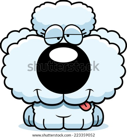 A cartoon illustration of a poodle puppy with a goofy expression.