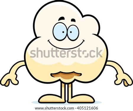 A cartoon illustration of a popcorn kernel looking happy. - stock vector