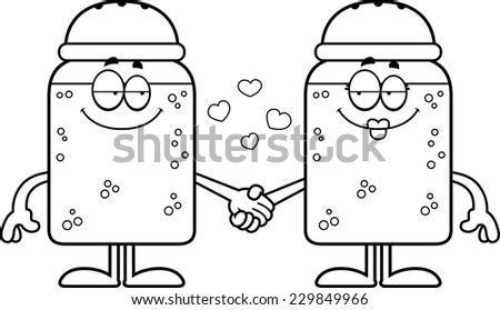A cartoon illustration of a salt and pepper shaker holding hands.