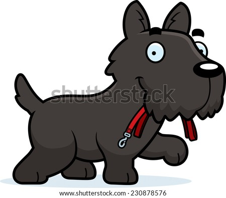 A cartoon illustration of a Scottie walking with a leash in his mouth.