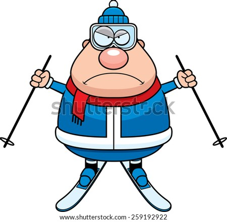 A cartoon illustration of a skiing man looking angry. - stock vector